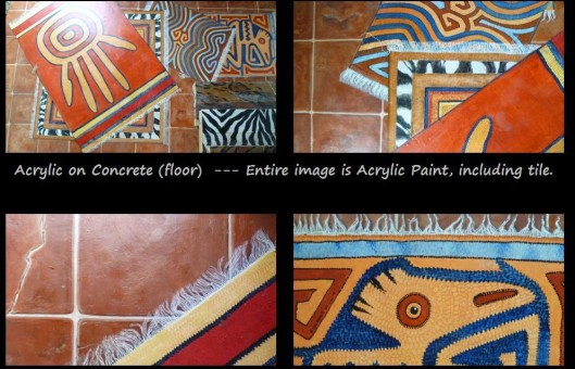 Concrete Floor Andean Rugs and faux tile