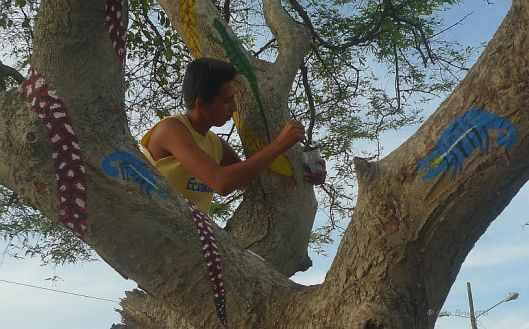 green painting continues in tree