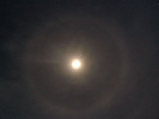 I've been told that a halo around the moon is a sign of rain....