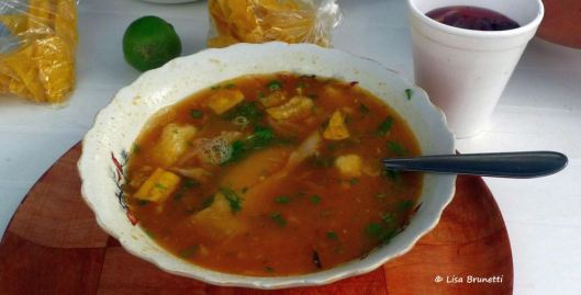 Encebollado at weekend-only sidewalk restaurant