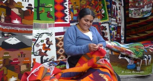 Otavalo Ecuador  - Do you think she looks forward to going to work?