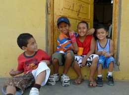 """""""Gringita!"""" San Juan Del Sur, Nicaragua - I had walked past these boys, and the one in the blue shirt ran after me and hurriedly hugged my leg! Of course I returned to visit with the group! Z"""