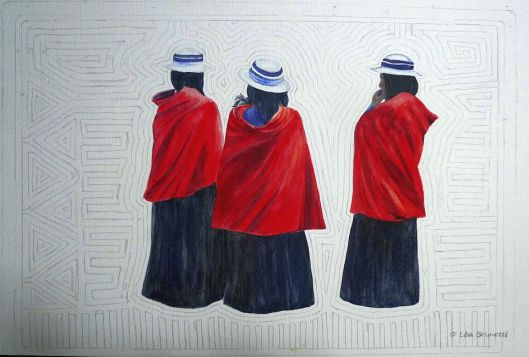 """Red Capes"" in progress;  Watercolor by Lisa Brunetti"