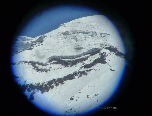 (Chimbo through binoculars)  Will this classic icon lose its classic life-giving crown of snow?