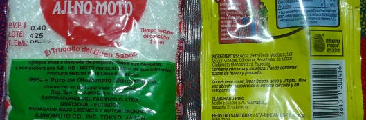 "99% Ajinomoto (left) y ""Resaltador de Sabor (MSG) (right)"