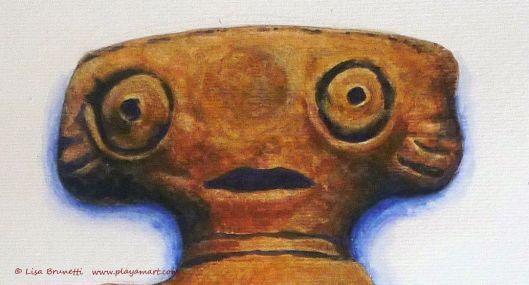 """ET""  Watercolor detail - Original lives in Museo Bahia de Caraquez"