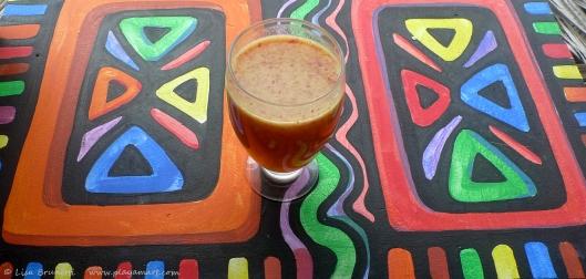Banana-Maracuya-Hibiscus drink  for breakfast!