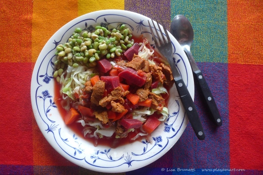 """""""Free Range"""" Beef, beets, Carrots  over steamed cabbage.  Just-picked field peas completed our lunch!"""