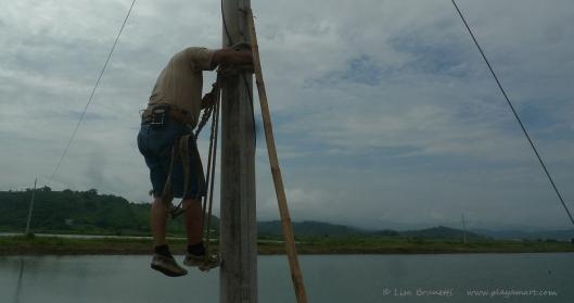 P1680244 electricity climbing post