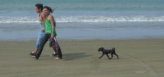 P1590317 playa tarqui ecuador couple with dog y shadows
