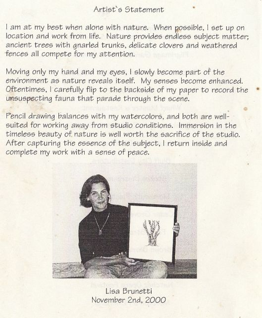 Artist's Statement Nov. 2000