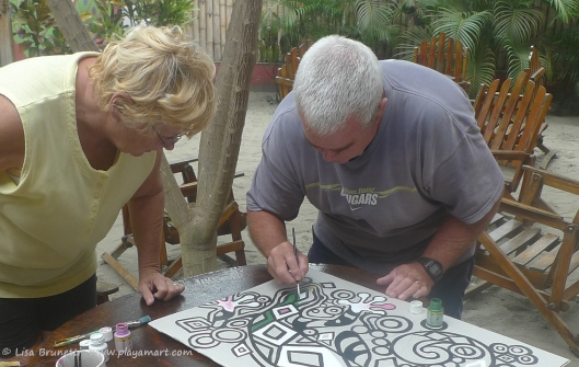 2013 - John and Mary and I worked on a painting while taking a mini holiday in Canoa.