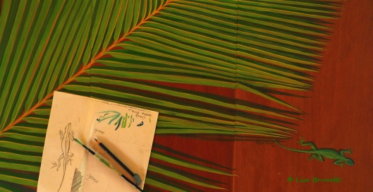 belize green palm iguana art P1300259