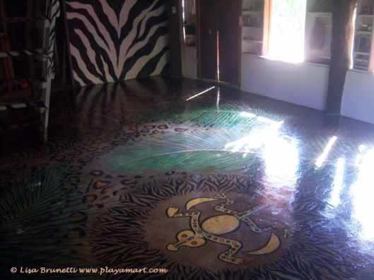 Rancho hand-painted floor - shaman's circle in foreground.