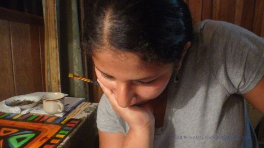 Silvana pondering her work!