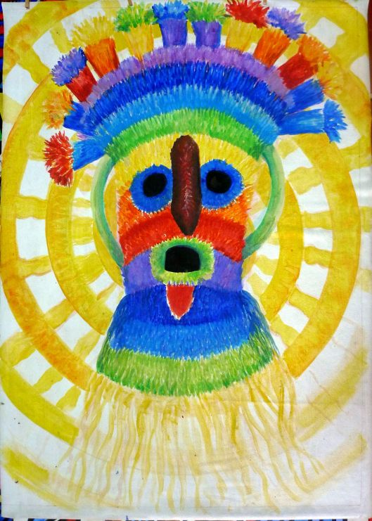 (In progress: IntiRaymi Mask - Acrylic) This very-fun painting makes me smile; does it make you smile?