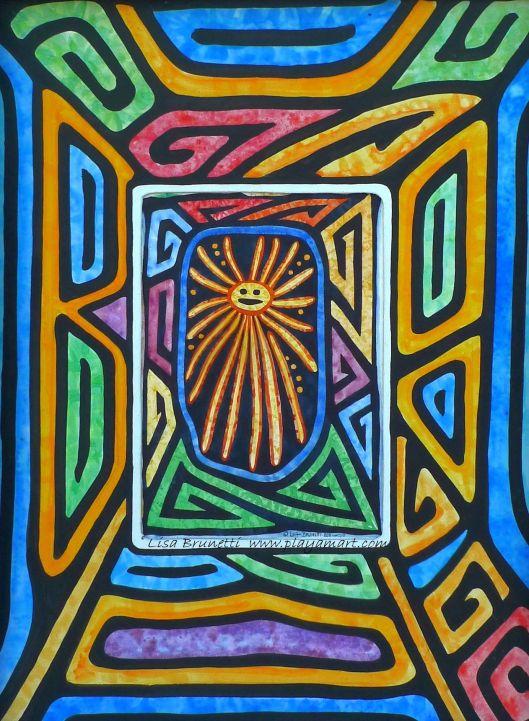 Jama Coaque Sonrisa - Watercolor - from The Mola Series