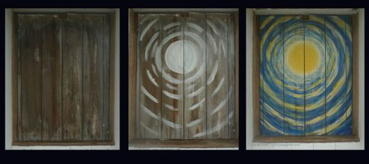 """Moon Window"" in progress - Acrylic on old window shutter"