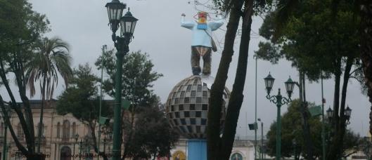 Inti Raymi Humo Diablo statue in  Otovalo Ecuador