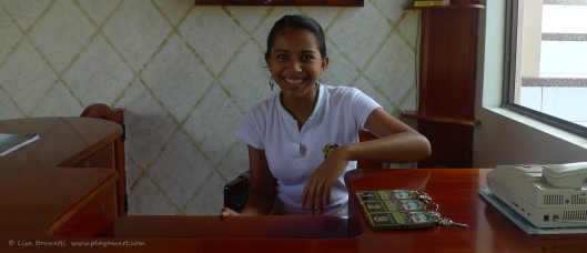 Sharing daytime duties at Hostal Ciragan, this lovely angel will brighten anyone's day!