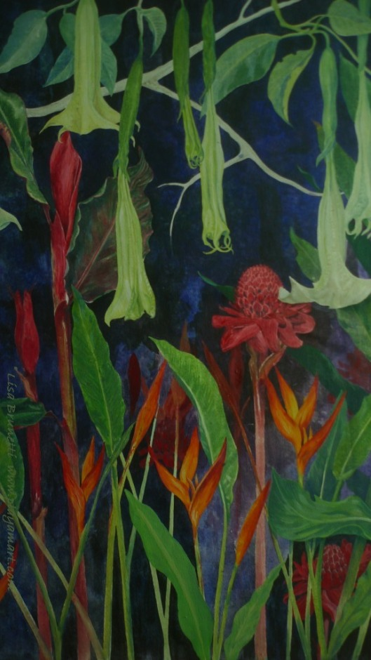 Night Garden - Acrylic in progress - by Lisa Brunetti 2014