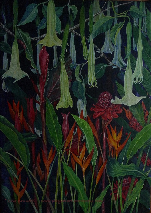 "Night Garden  - Acrylic - 38"" x 52""- Copyright Lisa Brunetti"