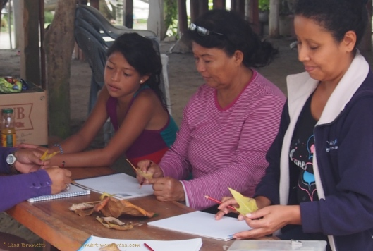 Two students, Nelly and Margarita, study leaves on their second day of drawing lessons.
