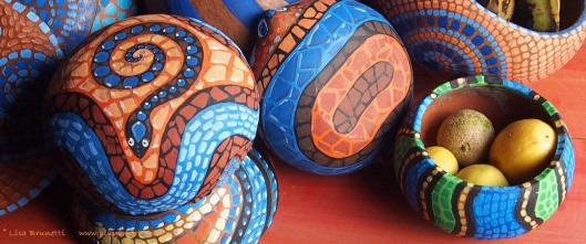 In between numerous distractions, I have been painting mosaics on pottery.  (Timeout post will be a little bit tardy!)