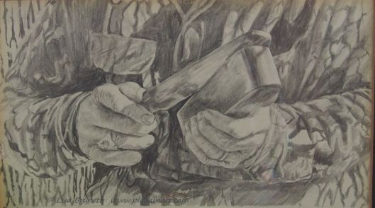 """Daddy's Hands"" 1990 - pencil - Lisa Brunetti"