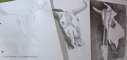 Friends have nudged me into a skull/bone series, and now cow skulls seem to wave to me most anywhere I travel!