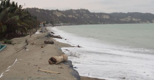 December 23, 2014  El Matal Ecuador end-of-day high tide.  The waves splashed over the top once in front of my friends' property.