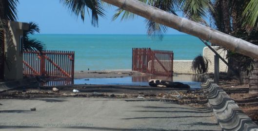 After high tide - Entrance to Coco Beach Village - no longer serviceable...