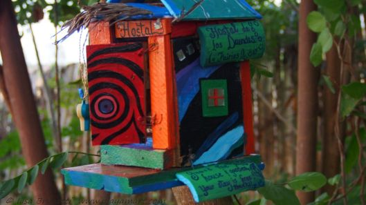 It's a little hostal for duendes and fairies!  It's free if they watch over the house and gardens!