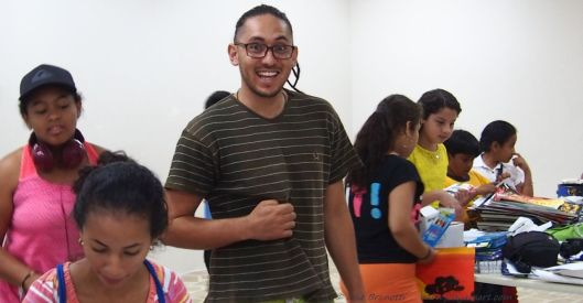Javier' gives positive feedback to his students- 2015 Museo Bahia de Caraquez Ecuador