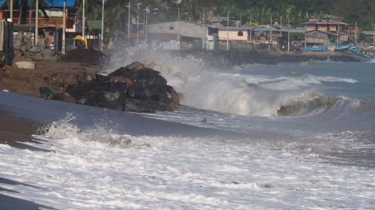 The waves continue to batter the coastline. (From June 2015)