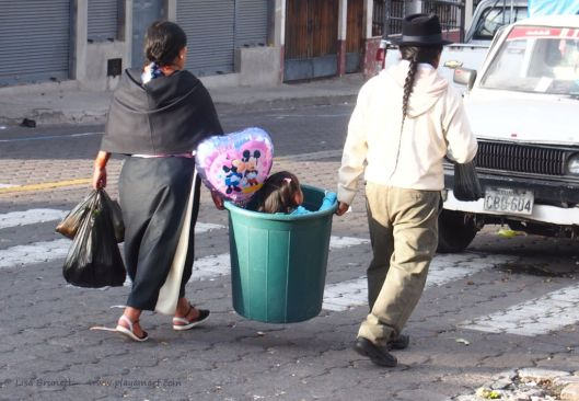"""Let's get moving!"" - Otavalo - Child in Bucket!"