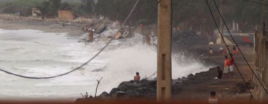 Last week - view from Victor's restaurant as waves slammed what remains of the beach.
