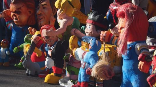 Ready-made effigies for sale for the New Year's Eve tradition.