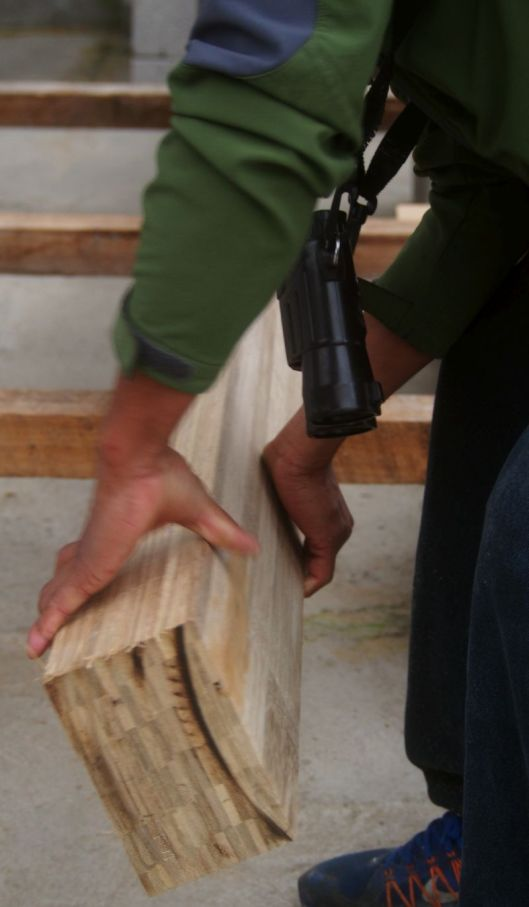 That pressure-treated block of 'Guadua' bamboo is extremely heavy!