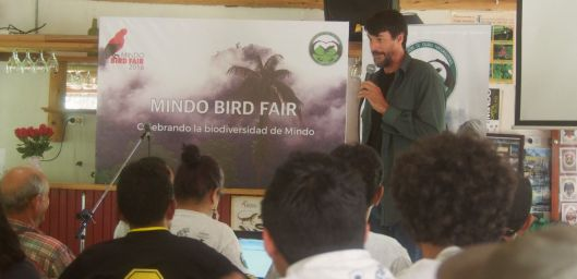 Rudy Gelis speaks to the participants at the Mindo Bird Fair.