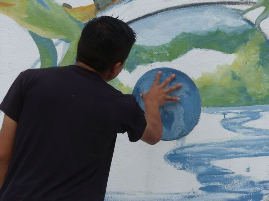We painted a small swirl on the globe with respect to those who are in Huurricane Otto's path...