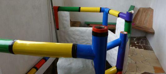 The bamboo handrail