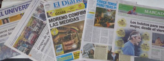 P2830056 tues oct 8 newspaper headlines ecuador